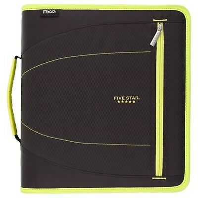 Five Star 2 Zipper Binder Whandle 530 Sheet Cap Removable Folders Blackyellow