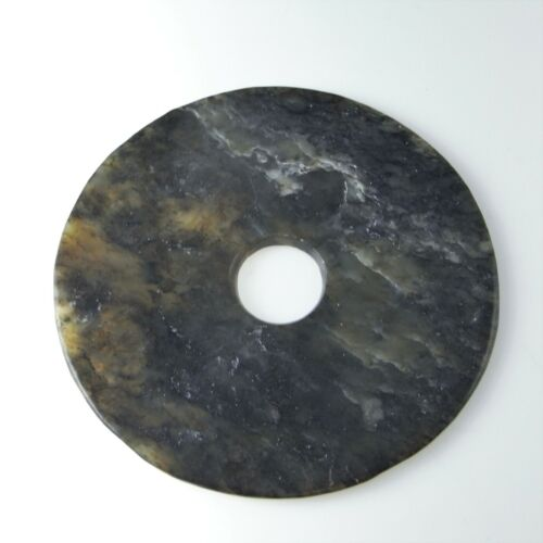 Neolithic Jade Bi Disc Qijia Ancient Archaic Chinese Artifact Pendant Nephrite