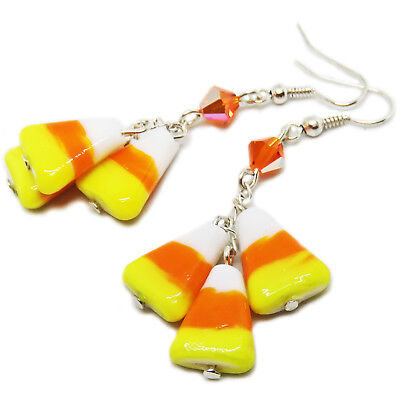 Halloween Glass Candy Corn & Preciosa Crystal Bead Earrings By