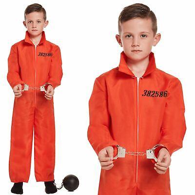 soner Convict Overalls Jumpsuit Fancy Dress Uniform Costume (Kids Orange Jumpsuit Kostüm)