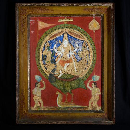 Skanda Oil On Panel School Indian Thanjavur India 19th Century Shiva B186-5