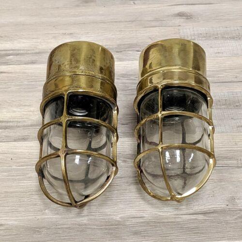 Original Cast Brass Nautical Wall Lights - Set of 2