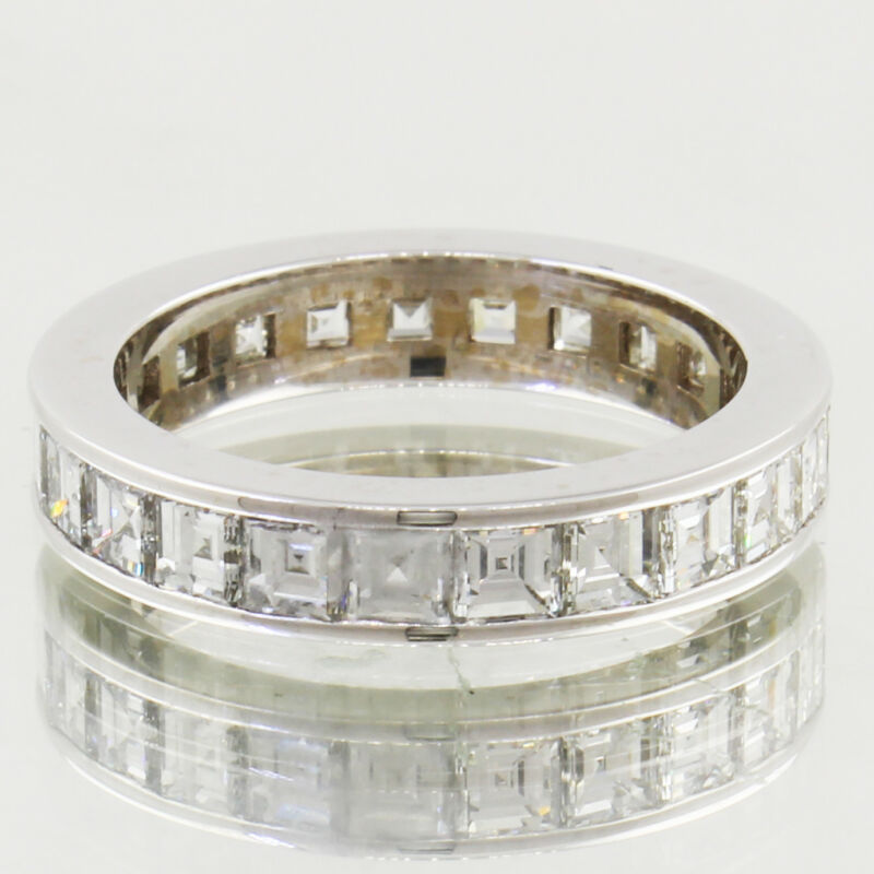 Diamond Eternity Ring 10.00 Carat Asscher Cut 18k Gold Ladies Channel Set