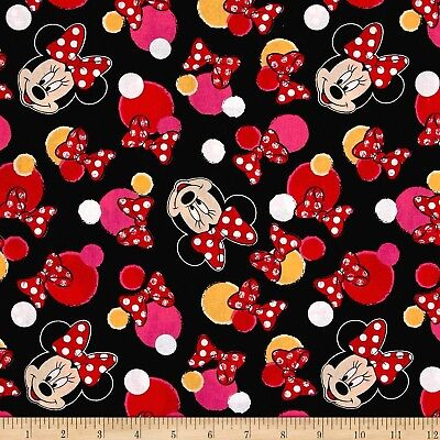 Disney Fabric - Minnie Mouse Face Bow & Dot Toss Black - Springs -