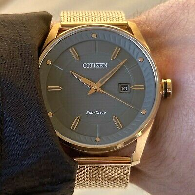 Citizen Eco-Drive Men's Watch | Rose Gold Steel Mesh Band | BM6983-51H Grey Date