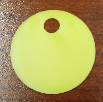 50 Pack Yellow Plastic Inventory Id Tags 1.25 Round - Tear-proof Waterproof