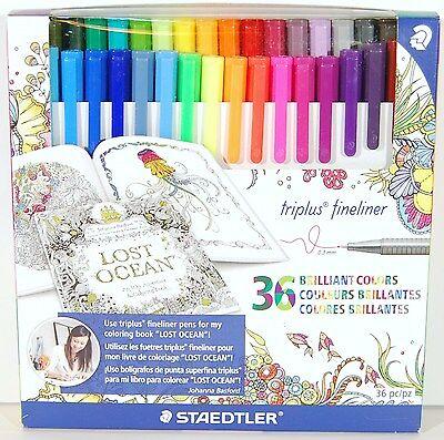 Staedtler Johanna Basford Triplus Fineliner 0.3mm Tip 36 Colors 334C36JBLU