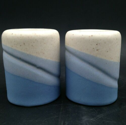 Vintage Beacon Hill Candle Holders Ceramic Speckled Blue Swirl Pair 1980s Japan
