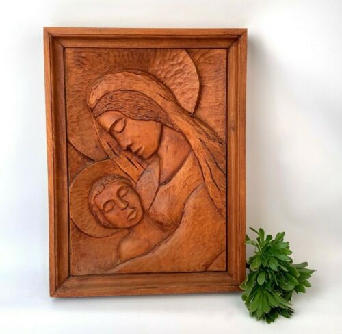 Madonna and Child Hand Carved wood wall hanging Croatian Folk Art