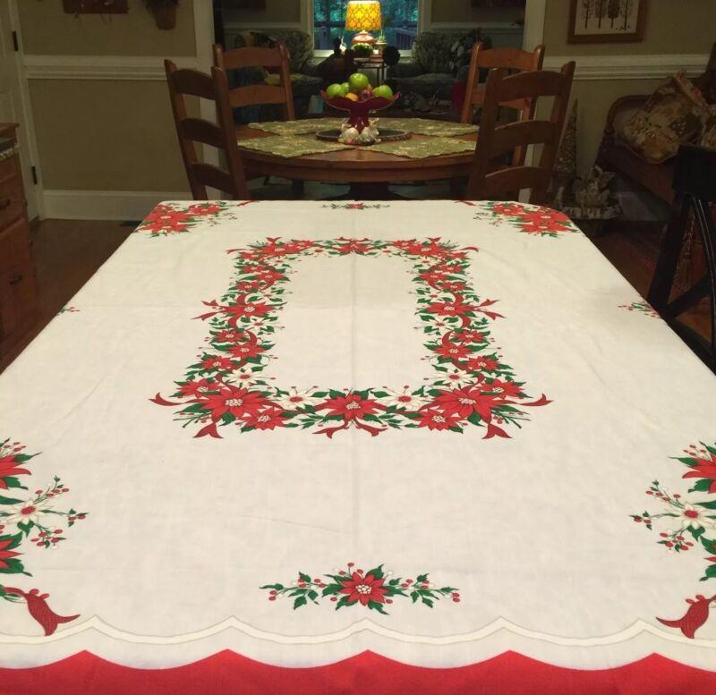 "Vintage Christmas Tablecloth 🎄Poinsettia Design 54"" X 69"" Brazil"