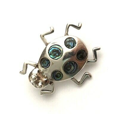 Vintage Sterling Silver 950 & Abalone Brooch Pin With Dimensional Bug -