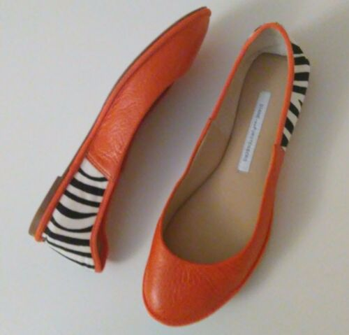 Diane Von Furstenberg Zebra Ballet Flats Size 6.5 Fits Like 6 Orange Leather EUC