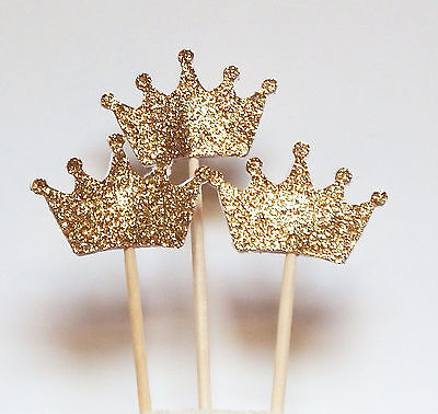 Set of 24 Gold Glitter Crown Cupcake Toppers Wedding Picks Party BABY SHOWER P