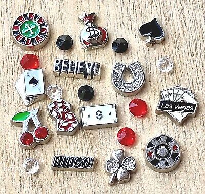 Floating Charms Las Vegas Bingo Dice fit Origami Memory Floating Lockets 22pc - Fitness Bingo