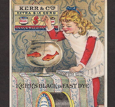 Kerrs Black Spool Sewing Thread Fishbowl 1800's Victorian Advertising Trade Card