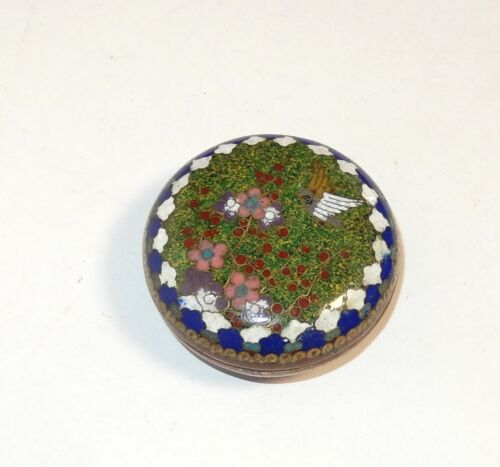 OLD BRONZE JAPANESE CLOISONNE GREEN ENAMEL BIRD SNUFF JAR BOWL BOX