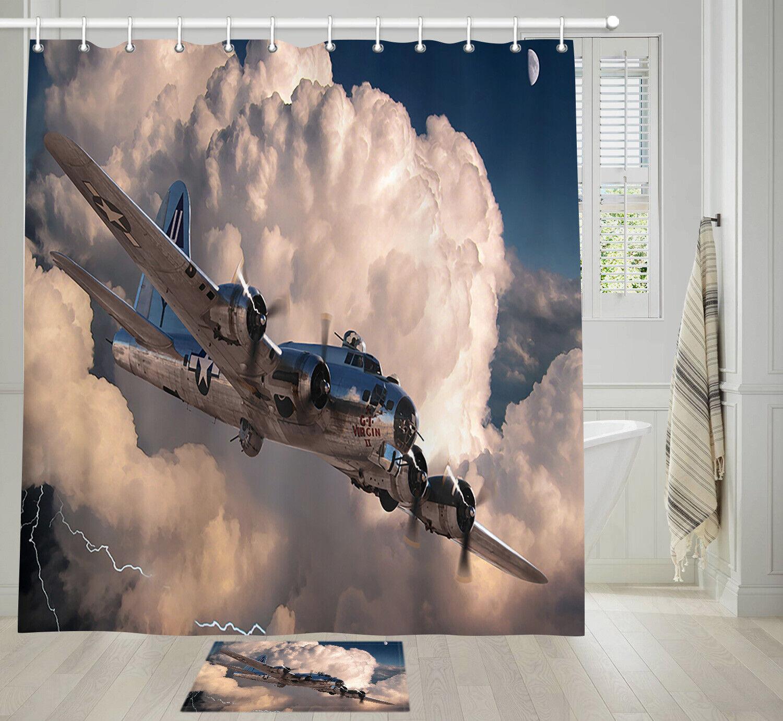 Retro Propeller Plane Shower Curtain Bathroom Decor Fabric &