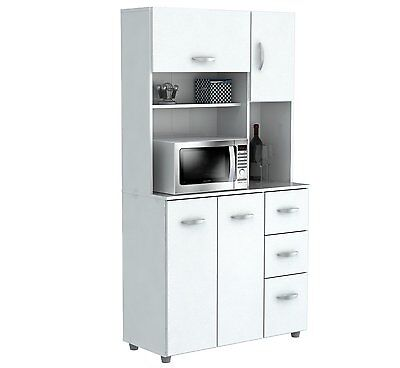 Inval America 4 Door Storage Cabinet with Microwave Cart Laricina White GCM-042