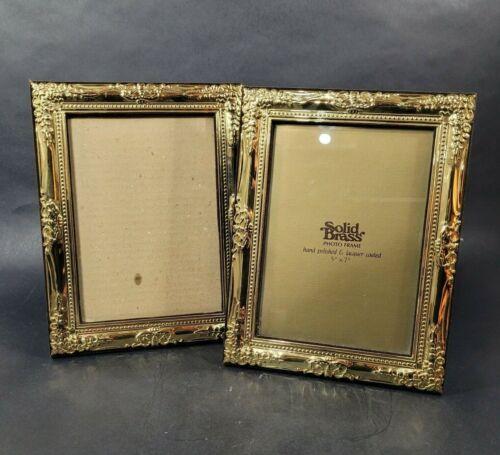 Vintage Solid Brass 5 x 7 Picture Frame Set of 2