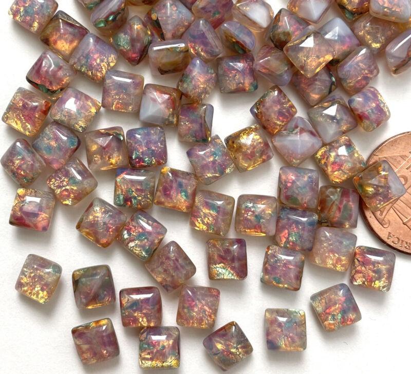 6 Vintage Harlequin Opal Stones Glass 6mm Rainbow Square Czech stones STN152