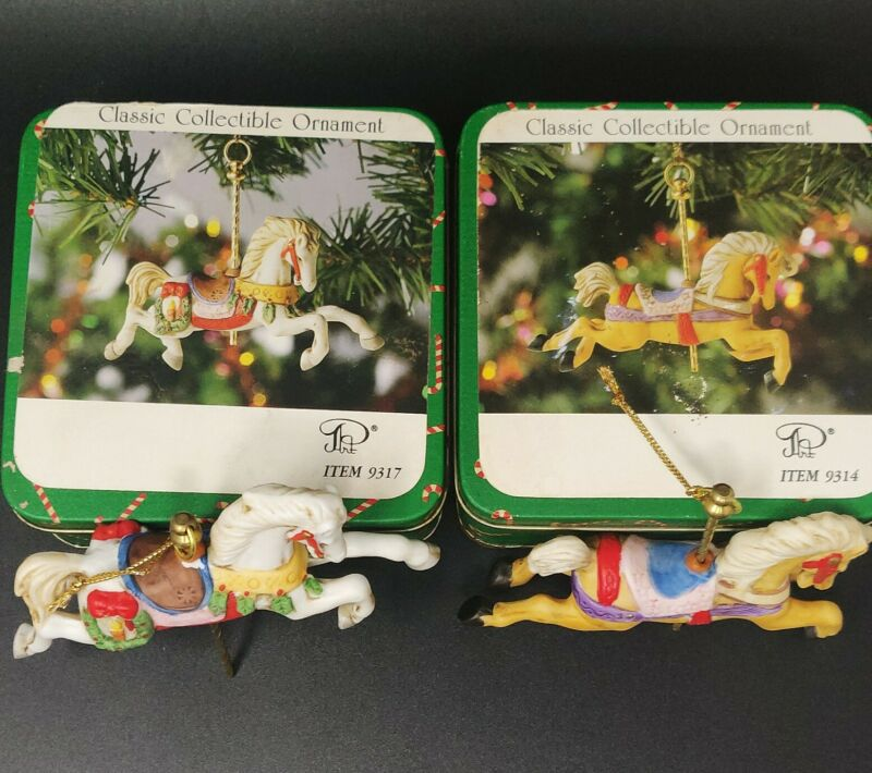 Willitts Design Horse Carousel Christmas Ornament Item 9314 & 9317 With Tin Box