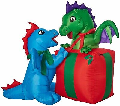 Christmas Inflatables Outdoor (Christmas Yard Inflatables Baby Dragons with Present 5 ft Outdoor Decor)