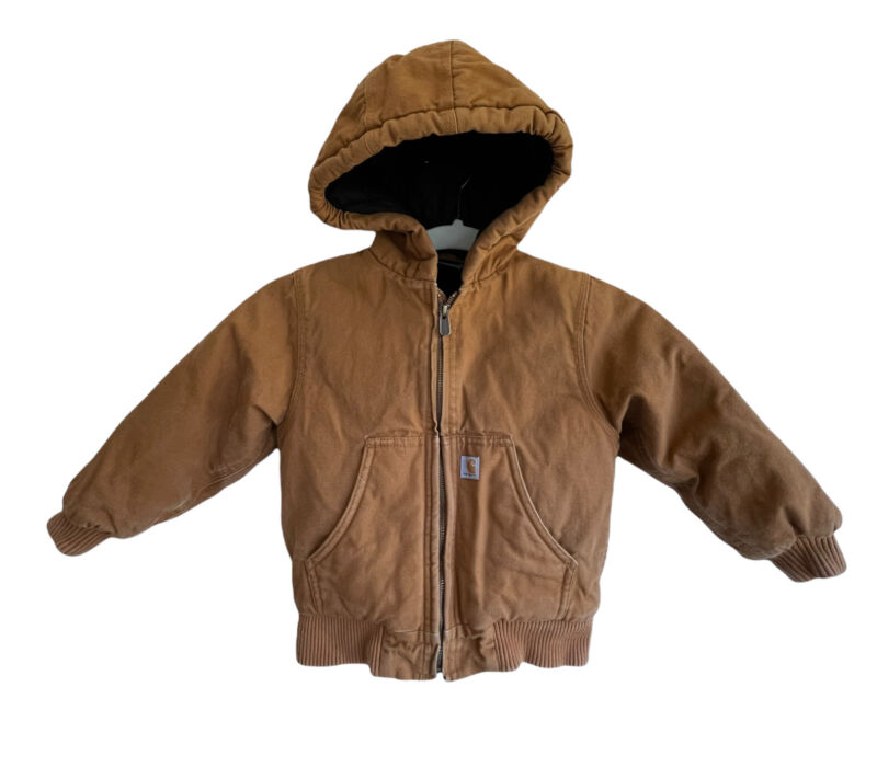 Carhartt Toddler Size 4T Brown Duck Canvas Lined Hooded Zip Up Jacket Winter