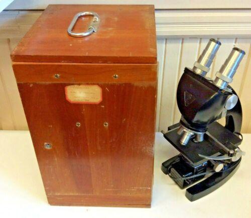 Vintage Bausch & Lomb binocular microscope in case  ( B )