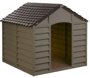 hundeh tte unterschlupf f r hunde hundehaus hunde h tte kunststoff braun beige. Black Bedroom Furniture Sets. Home Design Ideas