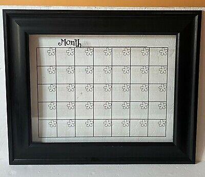 Dry Erase Calendar Clear Glass Black Wood Frame Mount Brackets Monthly