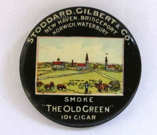 c.1900 STODDARD & GILBERT OLD GREEN CIGAR advertising celluloid pocket mirror *