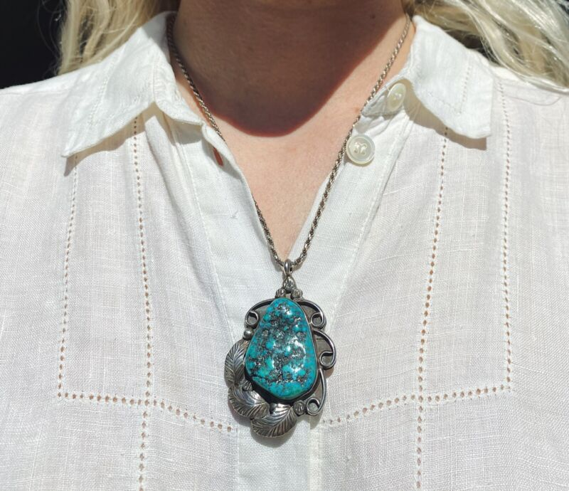 Vintage Sterling Silver and Turquoise Nugget Pendent Native American Style