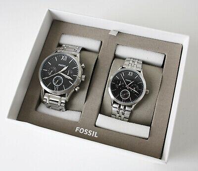 Fossil Herren + Damenuhr Uhren Set BQ2469 Set Chronograph Farbe: silber