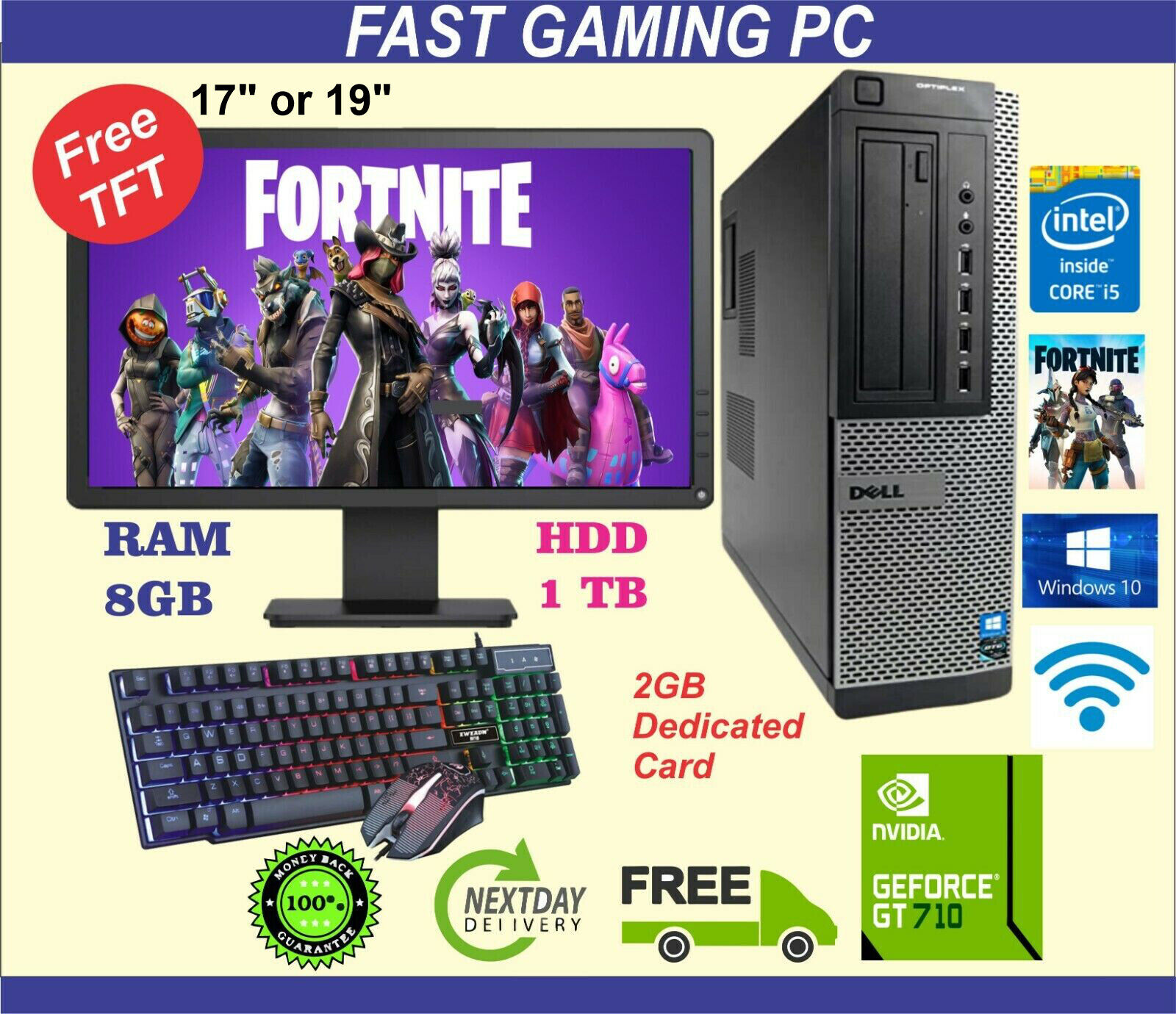 Computer Games - FAST DELL/HP Gaming PC Quad Core i5 Computer SET Monitor 8GB 1TB 2GB GT710 Win10