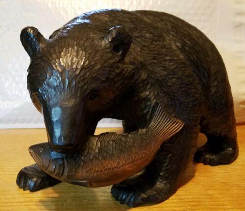 Rare Vintage Japan Ainu Bear with Salmon Hokkaido Hand Carved Wood