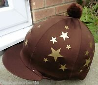 Riding Hat Silk Skull Cap Cover Brown Multi Gold Stars With Or W/o Pompom - affordable horseware - ebay.co.uk
