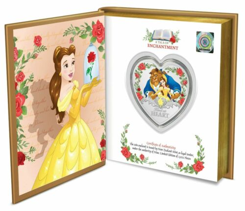 2021 Niue $2 Disney 30th Anniversary BEAUTY AND THE BEAST 1 Oz Silver Coin Book
