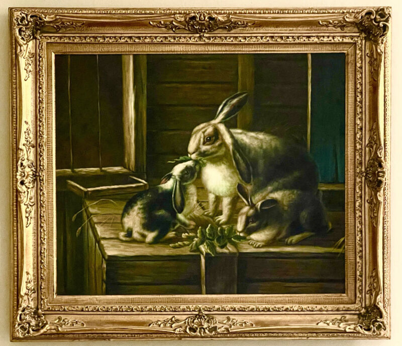 Stunning Vintage Original Oil On Canvas The Bunnies In The Barn Framed & Signed