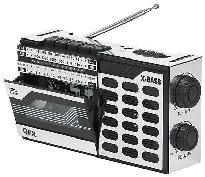 QFX Portable Retro Vintage AM/FM/SW Shortwave Radio Cassette Player Recorder Mic