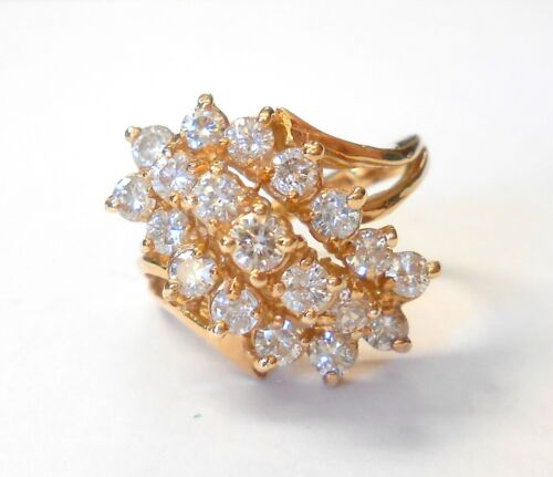 Beautiful Diamond Tiered Waterfall Design 14K Yellow Gold Cocktail Ring Size 6
