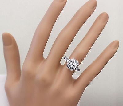 GIA H-VS2 14k White Gold Round Cut Diamond Engagement Ring Deco Prong 1.95ctw 2