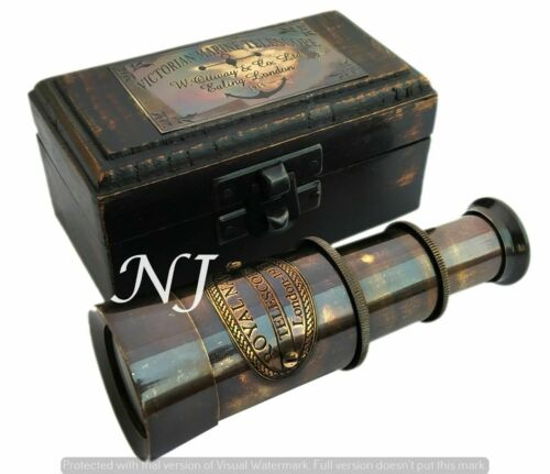 Victorian Brass Telescope w Box Antique Finish Nautical Maritime Spyglass Telesc