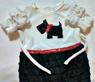Baby girl 6-9 Months White/Black with Dog super Cute Dress.