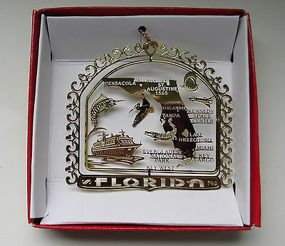 Florida Brass Ornament State Landmarks Travel Souvenir Gift
