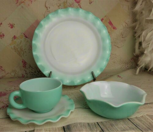 Vintage HAZEL ATLAS Crinoline Turquoise Dinner Plate, Cup, Saucer & Bowl 4 Piece