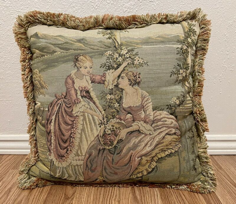 FRENCH SCROLL AUBUSSON PETITPOINT NEEDLEPOINT WOMEN SCENIC PILLOW HUGE VINTAGE