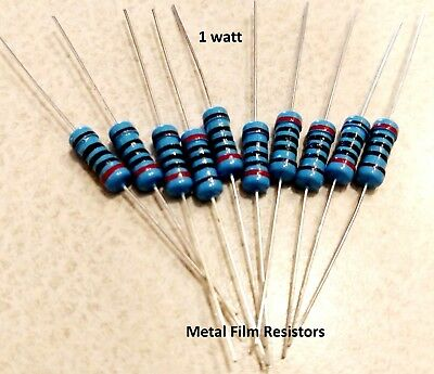 1 Watt 1 Tolerance Metal Film Resistor 10 Pieces You Choose The Value