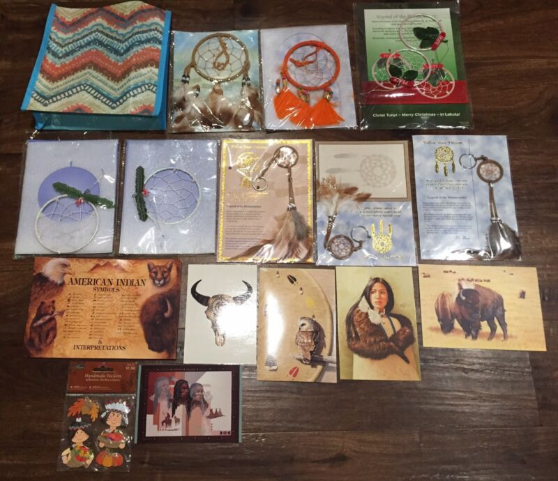 St. Joseph's Indian School Native American Dream Catcher & Postcard Lot Lakota