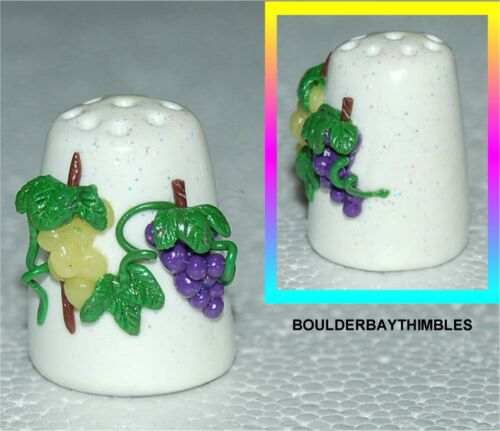 BOULDER BAY Hand Crafted FIMO THIMBLE #10 PURPLE and GREEN GRAPES on WHITE