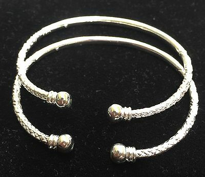 Pair Of New Plain Ball Head Handmade West Indian Sterling Silver Bangles